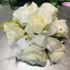 Large Wrist Corsage - White Rose
