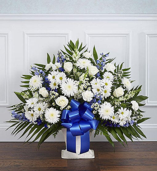 Sympathy Floor Basket - Blue & White