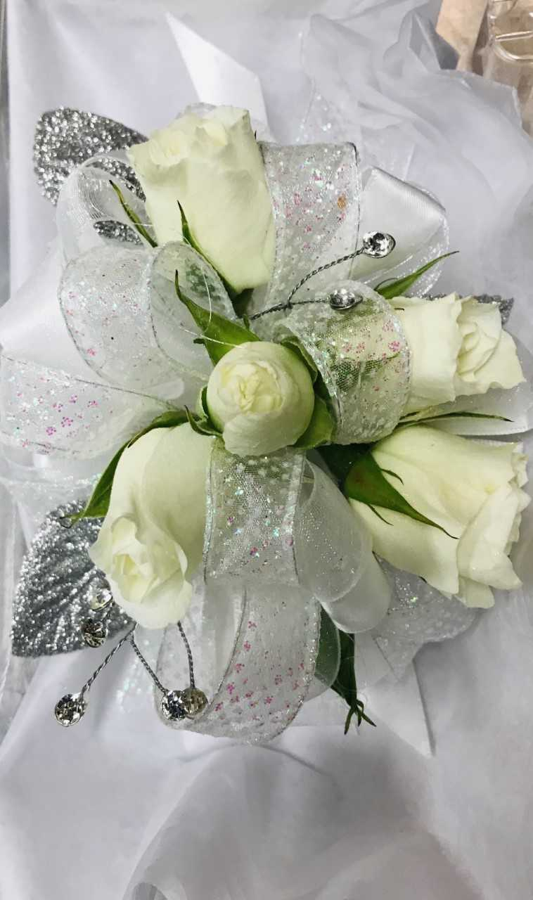 Large Wrist Corsage - White Rose w/ Silver