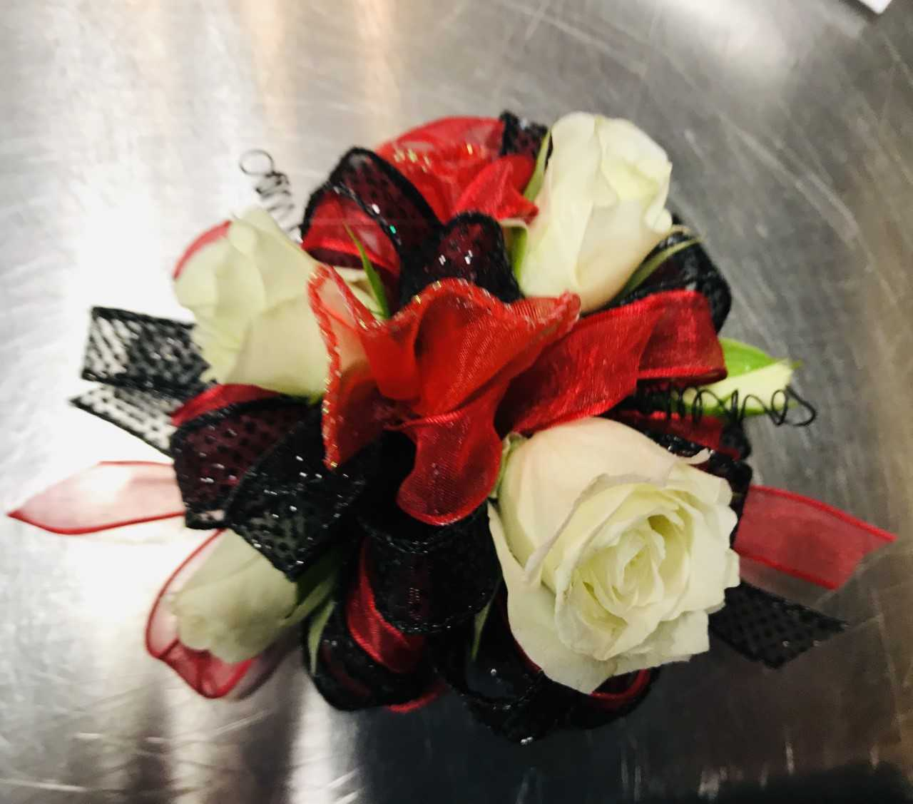 Large Wrist Corsage - White Rose w/ Red & Black