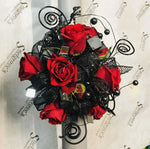 Large Wrist Corsage - Red Rose w/ Black
