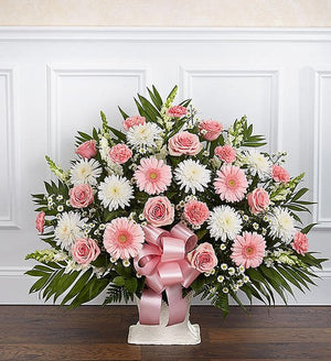 Sympathy Floor Basket - Pink & White