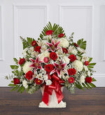 Sympathy Floor Basket - Red Rose & Lily