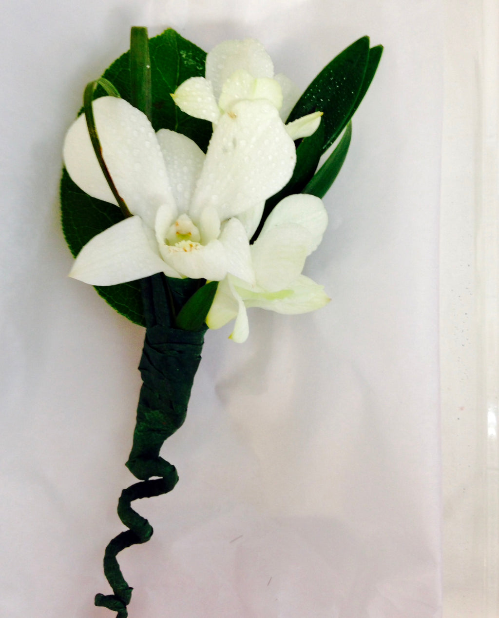 Men's Orchid Boutonniere - White