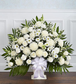 Sympathy Floor Basket - White