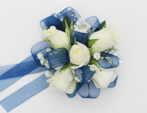 Wrist Corsage - White Rose w/ Blue