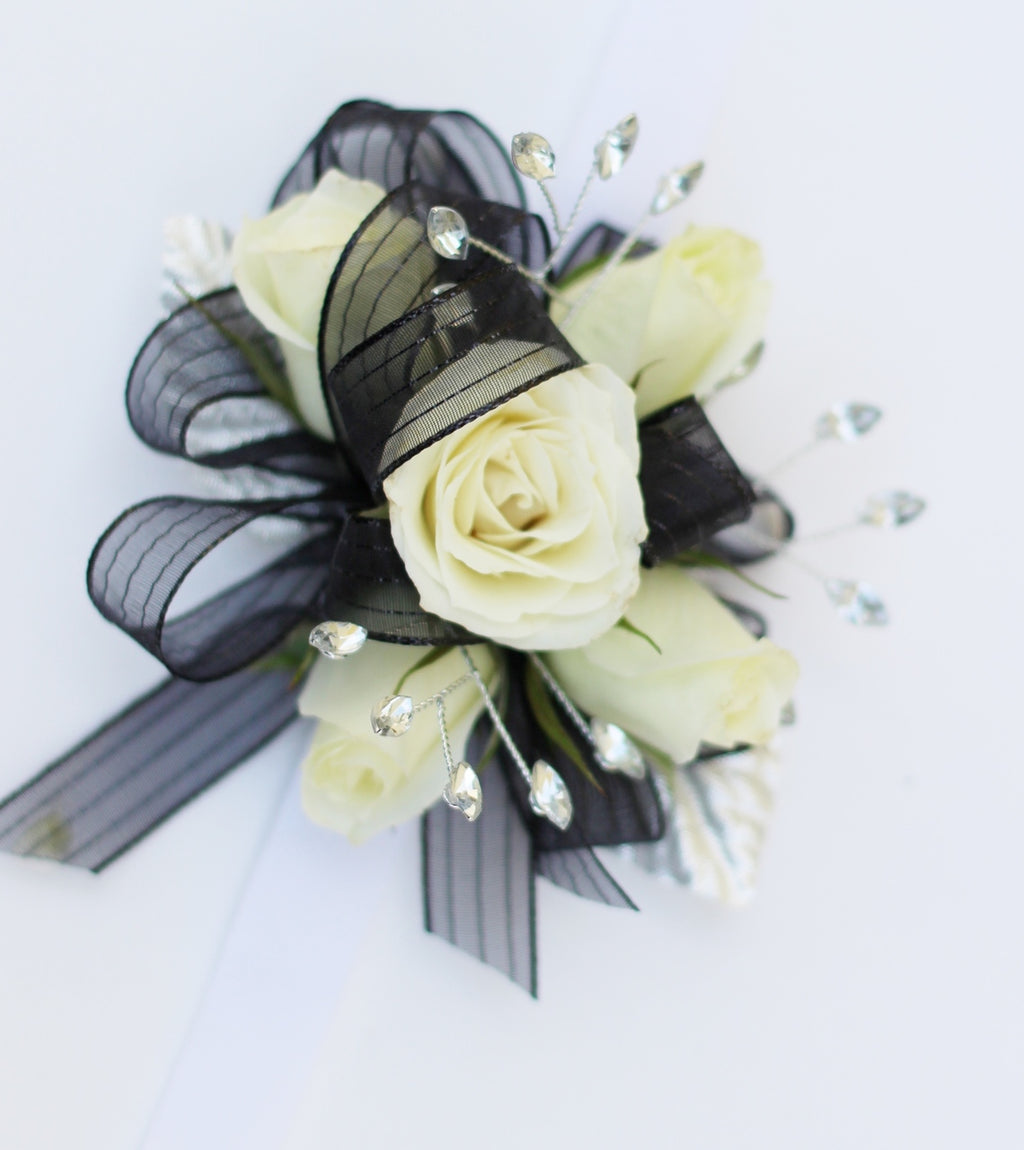 Wrist Corsage - White Rose w/ Black