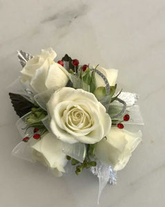 Wrist Corsage - White Rose w/ silver & Red Accents