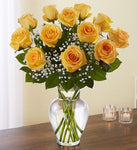 Bountiful Yellow Rose Vase