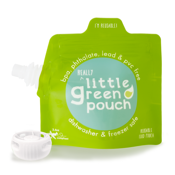 Little Green Pouch 3.4 oz. reusable food pouch—BPA-free, dishwasher and freezer-safe