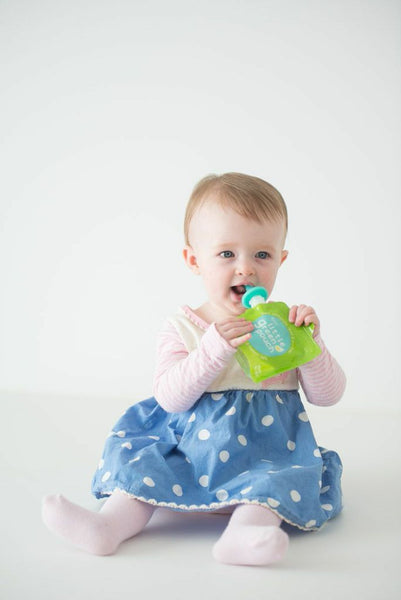 Really Little Green Pouch is perfect for teething babies when paired with the PouchPop silicone spout extender