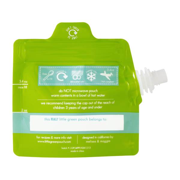 Really Little Green Pouch is a 3.4 oz. reusable food pouch that is travel-friendly at 3.4 oz.