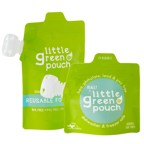 Little Green Pouch reusable food pouches come in two sizes and are perfect for homemade baby food and real food on-the-go