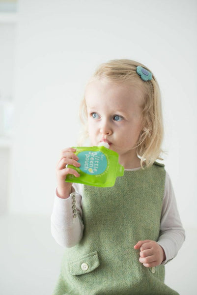 Toddler snacks on-the-go made easy with the Really Little Green Pouch 3.4 oz reusable food pouch