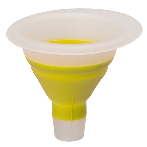 Yellow collapsible mini funnel for filling Little Green Pouch reusable food pouches