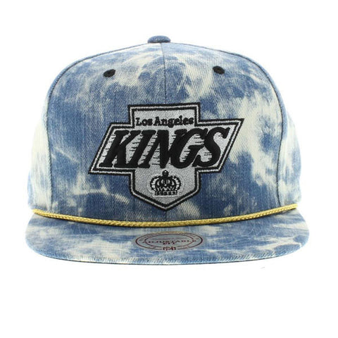 LOS ANGELES KINGS MITCHELL & NESS BLUE ACID WASH DENIM SNAPBACK HAT