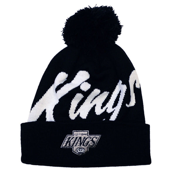 LOS ANGELES KINGS MITCHELL & NESS SCRIPT BEANIE WITH POM IN BLACK