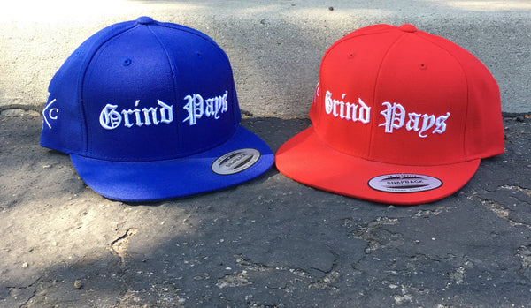 GRIND PAYS EMBROIDERED SNAPBACK HAT