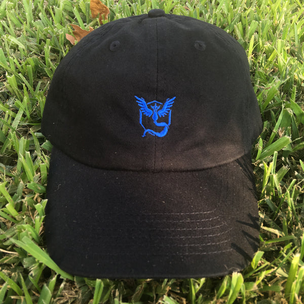 """TEAM MYSTIC"" POKEMON GO POLO STYLE UNSTRUCTURED DAD HAT IN BLACK"