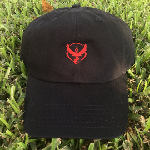 """TEAM VALOR"" POKEMON GO POLO STYLE UNSTRUCTURED DAD HAT IN BLACK"
