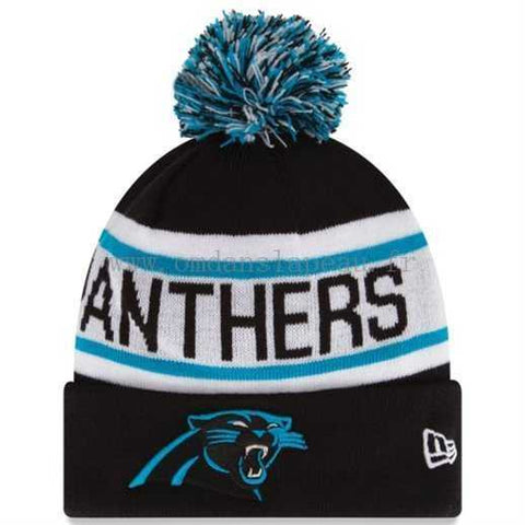 CAROLINA PANTHERS NEW ERA BIGGEST FAN REDUX BEANIE WITH POM IN BLACK/WHITE