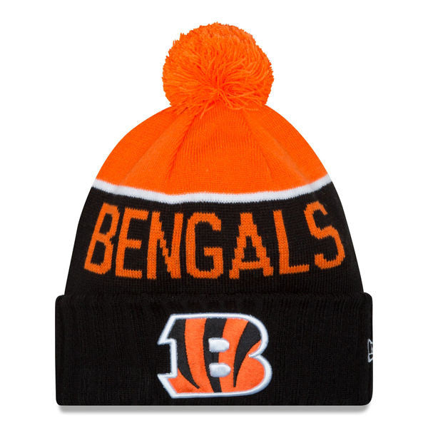 NEW ERA CINCINNATI BENGALS BLACK 2015 ON-FIELD SPORT KNIT HAT WITH POM
