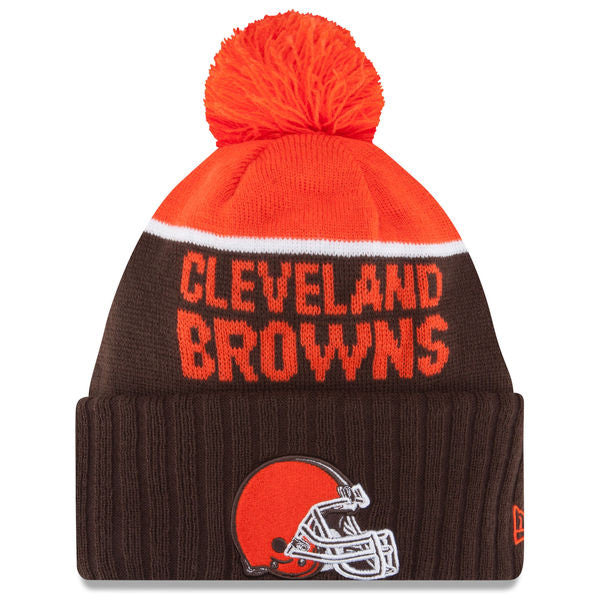 NEW ERA CLEVELAND BROWNS BROWN 2015 ON-FIELD SPORT KNIT HAT WITH POM