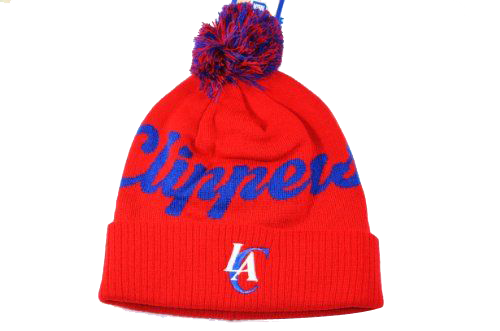 LOS ANGELES CLIPPERS ADIDAS SCRIPT BEANIE WITH POM IN RED