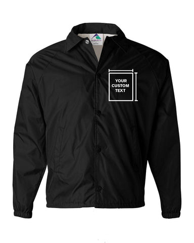 """Add Your Own Text"" Men's Augusta Sportswear Coach's Jacket - Black"