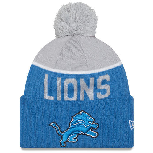 NEW ERA DETROIT LIONS BLUE 2015 ON-FIELD SPORT KNIT HAT WITH POM