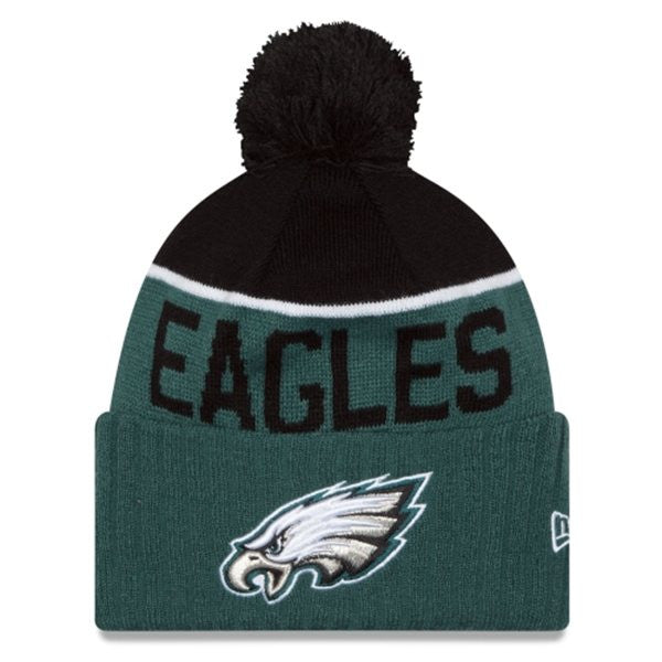NEW ERA PHILADELPHIA EAGLES GREEN 2015 ON-FIELD SPORT KNIT HAT WITH POM
