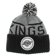 LOS ANGELES KINGS MITCHELL & NESS BEANIE WITH POM IN GREY/BLACK