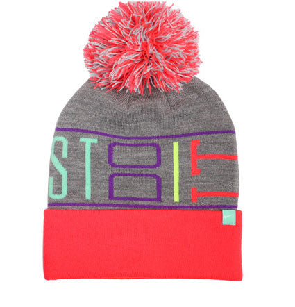 NIKE JUST DO IT BEANIE WITH POM IN HOT PINK/GREY