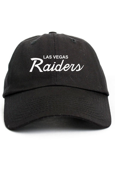LAS VEGAS RAIDERS SCRIPT UNSTRUCTURED DAD HAT
