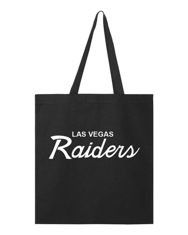 LAS VEGAS RAIDERS SCRIPT TOTE BAG