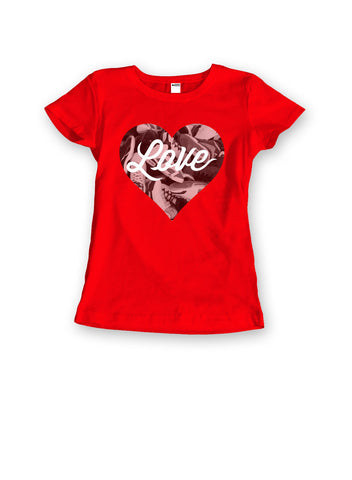 theSTASH WOMENS SNEAKER LOVE T-SHIRT IN RED
