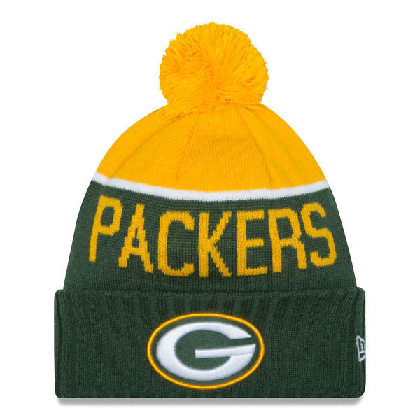 NEW ERA GREEN BAY PACKERS GREEN 2015 ON-FIELD SPORT KNIT HAT WITH POM