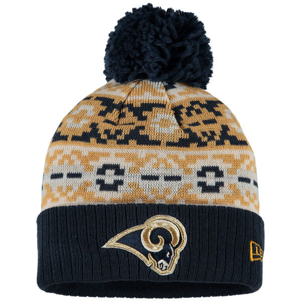 NEW ERA ST LOUIS RAMS RETRO CHILL BEANIE WITH POM