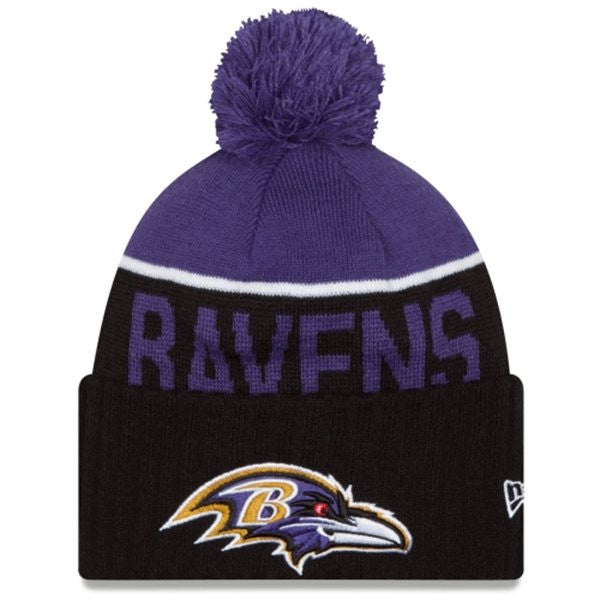 NEW ERA BALTIMORE RAVENS BLACK 2015 ON-FIELD SPORT KNIT HAT WITH POM