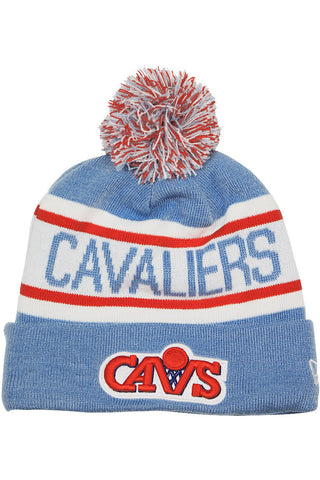 CLEVELAND CAVALIERS NEW ERA BIGGEST FAN REDUX THROWBACK BEANIE WITH POM