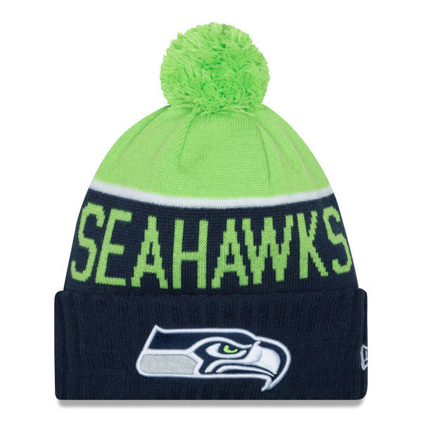NEW ERA SEATTLE SEAHAWKS NAVY 2015 ON-FIELD SPORT KNIT HAT WITH POM