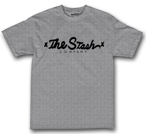 theSTASH CO SCRIPT T-SHIRT IN GREY