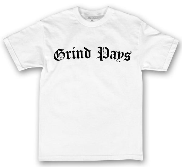 theSTASH GRIND PAYS T-SHIRT IN WHITE