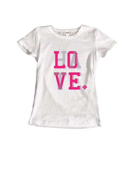theSTASH WOMENS LOVE/HATE T-SHIRT IN WHITE VIVID PINK