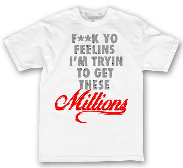 theSTASH GET THESE MILLIONS CEMENT T-SHIRT IN WHITE