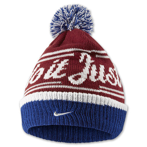 NIKE JUST DO IT POM BEANIE IN RED/BLUE