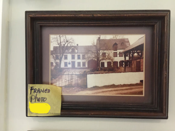 7794 - A - Vintage Framed and Matted Photo of a Stately Manor - Origin Unknown - 8 x 6 -