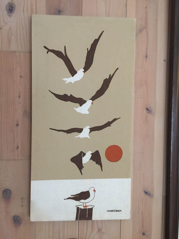 8723 - A - Marushka Textile Silkscreen Print of Seagull Landing - Signed