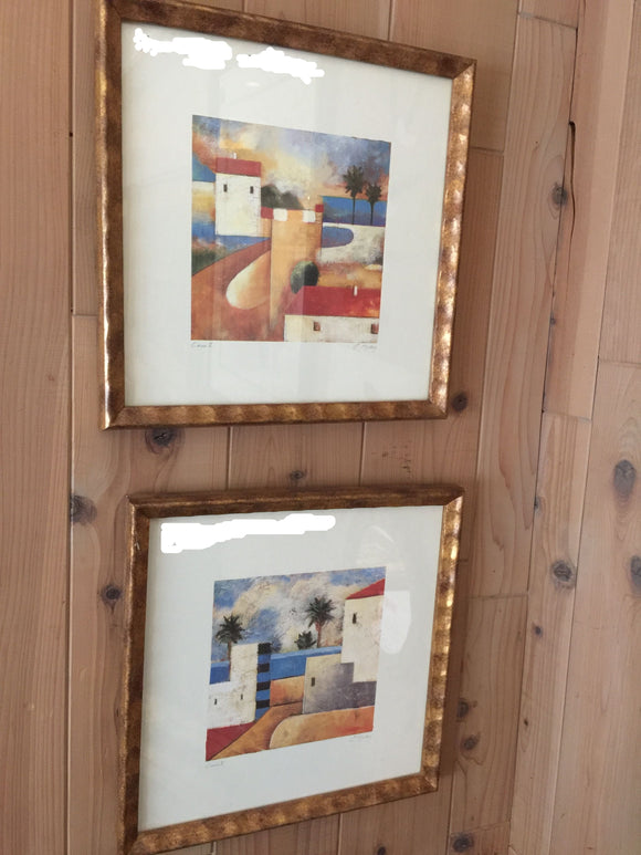 7807 - A - Print - Set of 2-Contemporary Grecian Landscapes Custom Framed, Matted with Glass