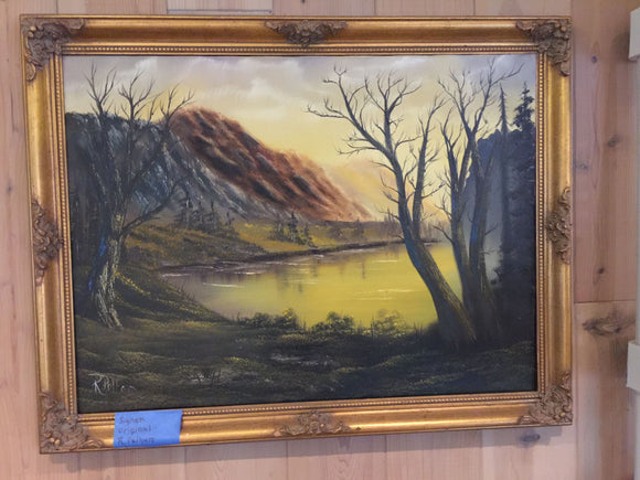 7812 - A - Originally Signed R. Pelham - Oil Painting of a Mysterious Mountain, Lake and Trees Scene